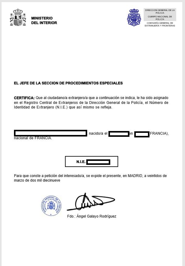 Exemple d'un Numéro d'Identification d'Etranger